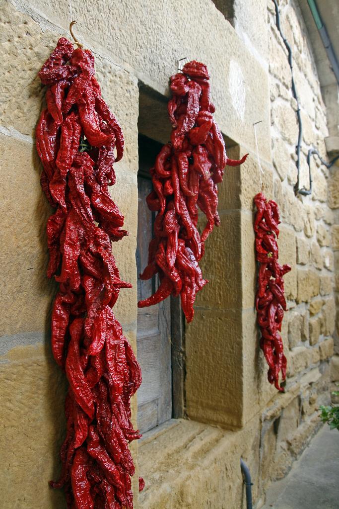 Pimientos choriceros secando